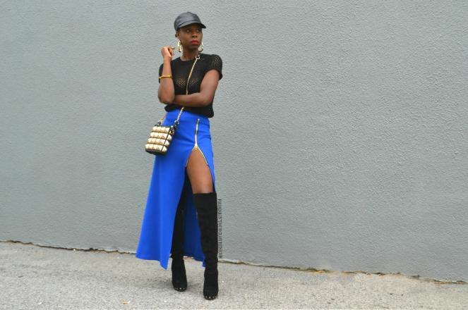 redesignyourclothes DIY Zipper Slit Maxi Skirt1