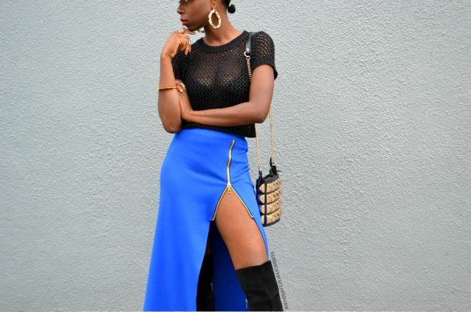 redesignyourclothes DIY Zipper Slit Maxi Skirt2