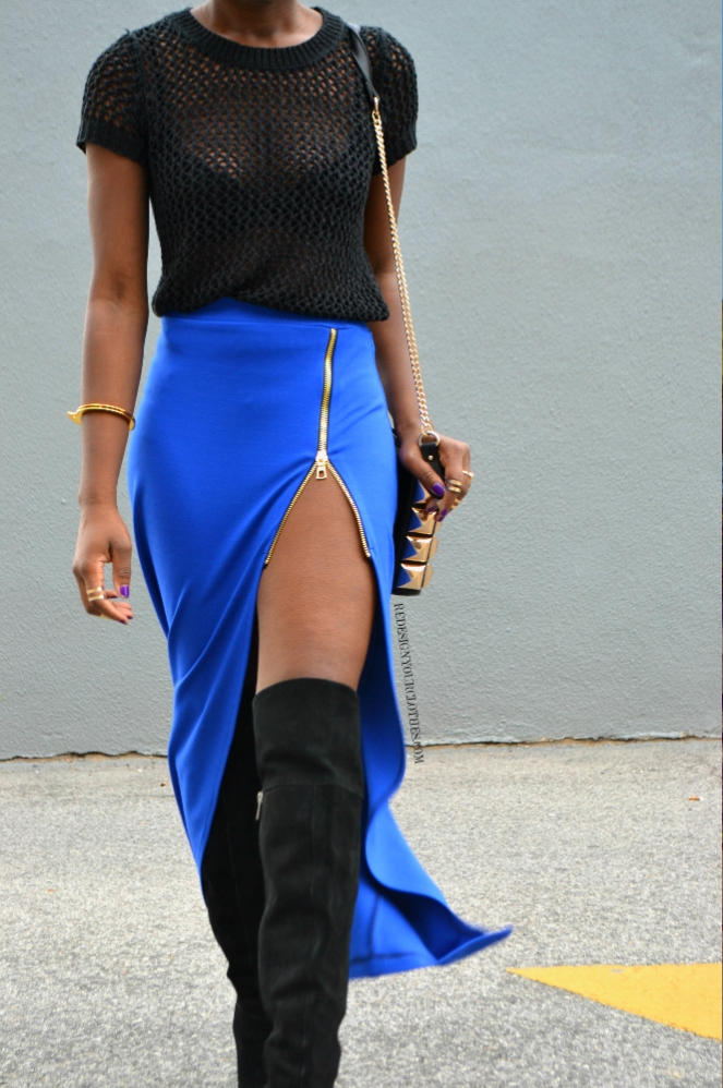 redesignyourclothes DIY Zipper Slit Maxi Skirt5