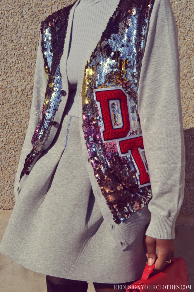 redesign your clothes diy sequin varsity cardigan2