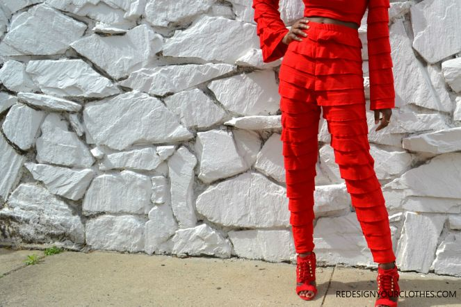 DIY HIGH WAIST TAPERED RUFFLE PANTS 3