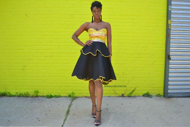 How To Sew A Strapless Scallop Hem Flare Dress1